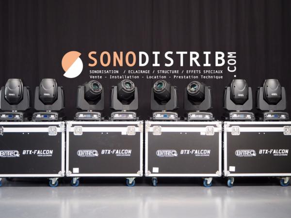 OCCASION vends lot de 8 lyres SPOT LED 180W PRO + 4 Flight-Cases double /// BRITEQ BTX FALCON